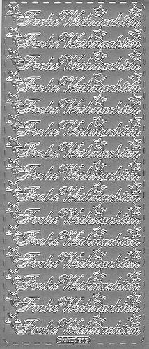 Sticker Frohe Weihnachten 12 silber