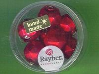 Glas-Rautenperlen 13mm rot matt