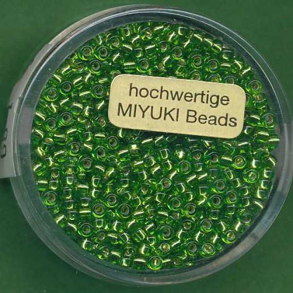 Miyuki-Rocailles 2,2mm Silbereinzug peridot