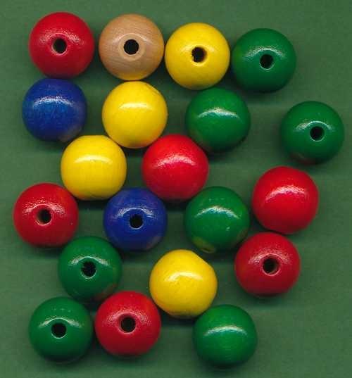 Holzperlen 14mm farbig sortiert