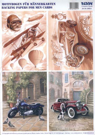 3D-Stanzbogen für Männerkarten, Oldtimer, Doppeldecker, Motorrad