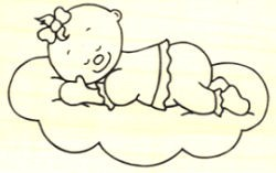 Stempel Baby Mädchen schlafend
