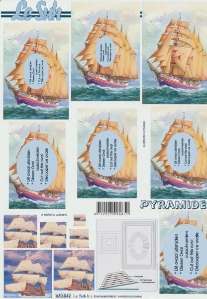 3D Motivbogen Segelschiff