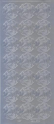 Sticker 50 mit Ring silber