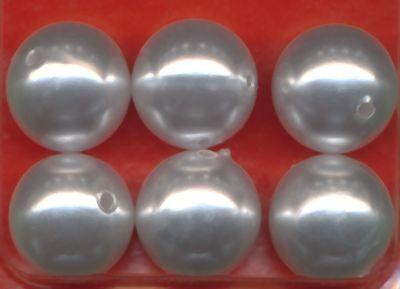 11601 Wachsperlen 16mm weiß 6 Stück