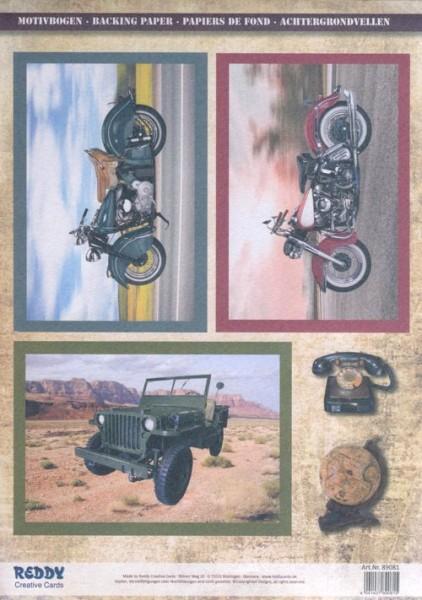 3D-Stanzbogenset Motorräder und Geländewagen
