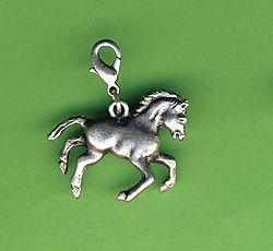 Metall Anhänger Pferd antikplatin 30mm