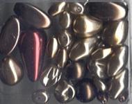 Glasperlensortiment bordeaux/braun