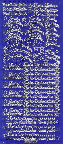 Sticker Frohe Weihnachten 8 blau gold