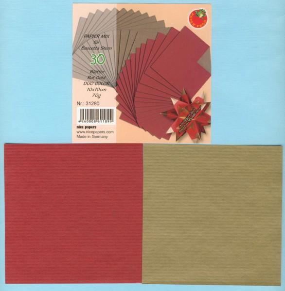 1625760_Bascetta-Sterne-Papier-DUO-rot-gold-10x10cm-30-Blatt-70g