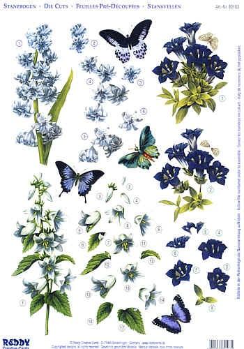 3D-Stanzbogen Flowers Blue