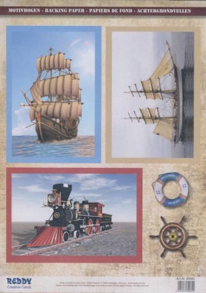 3D-Stanzbogenset Segelschiffe und Dampflock