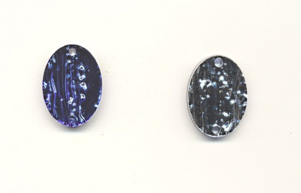Schmuckteil Borkenstrukturplatte oval 25x18mm safir