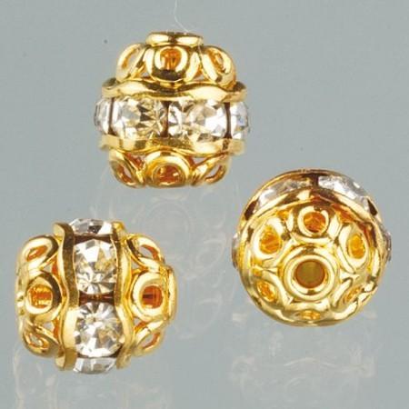 Filigranperle Strass 6mm kristall-gold