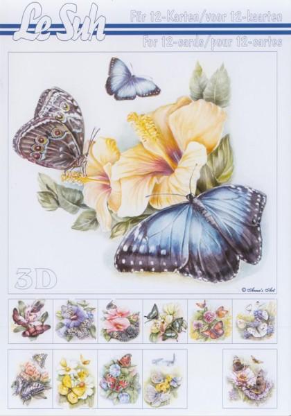 3D Motivbuch Schmetterlinge mit Blumen