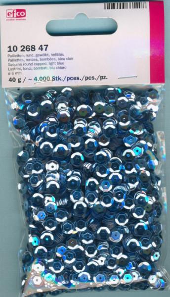 Pailletten gewölbt 6mm hellblau