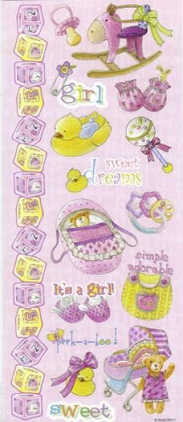 rd3451325 Embossed Glitzer-Sticker Baby Girl
