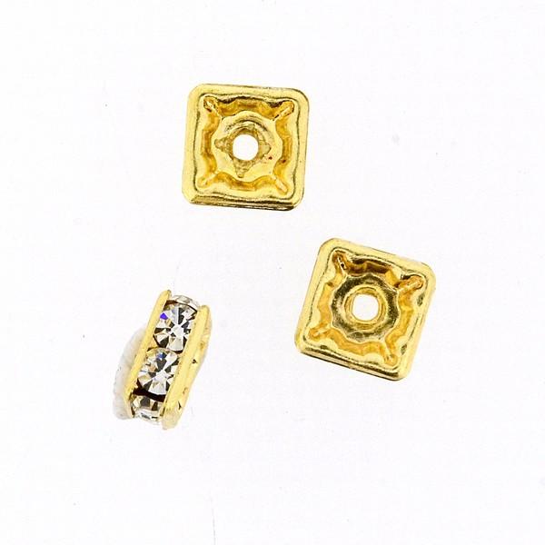 Strass-Viereck 6x6mm gold-kristall