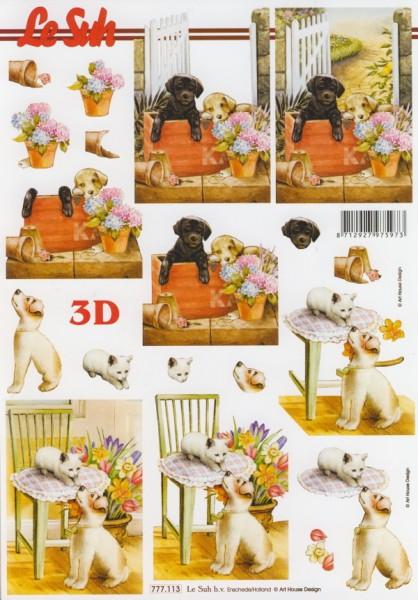 777113_3D-Motivbogen-Hunde-und-Kätzchen