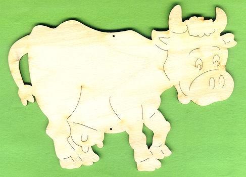 Holzbild Kuh 12cm