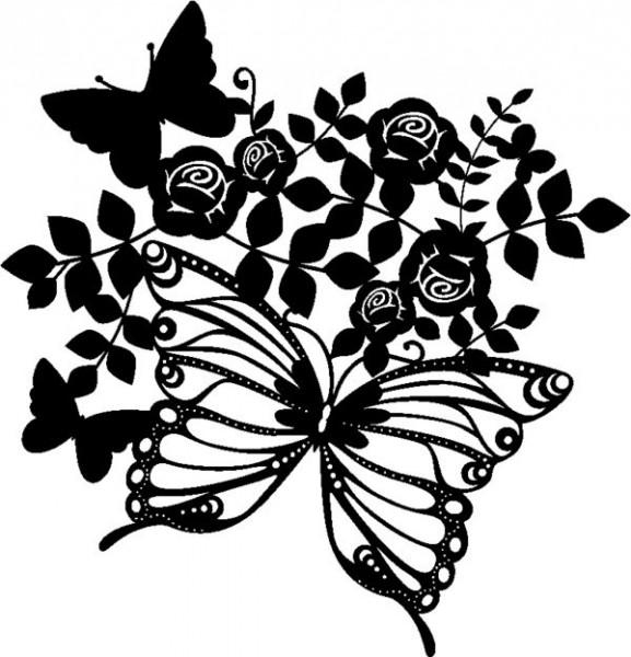Schablone Butterflies & Roses 30x30cm