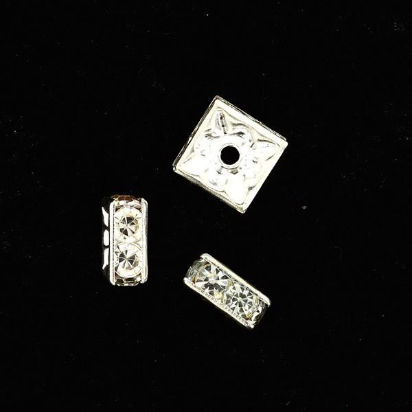 Strass-Viereck 6x6mm silber-kristall