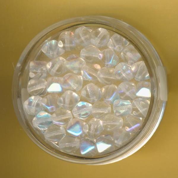483306144 Glasperlen Pyramide 6mm kristall AB 40 Stück