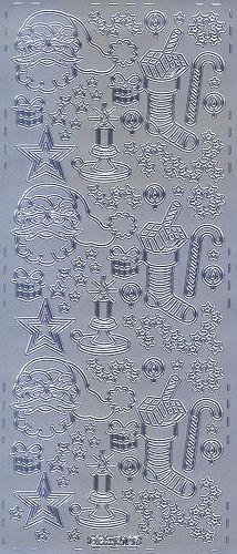 Sticker Weihnachtsschmuck 6 silber