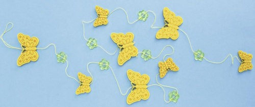 Filz-Girlande Schmetterling gelb