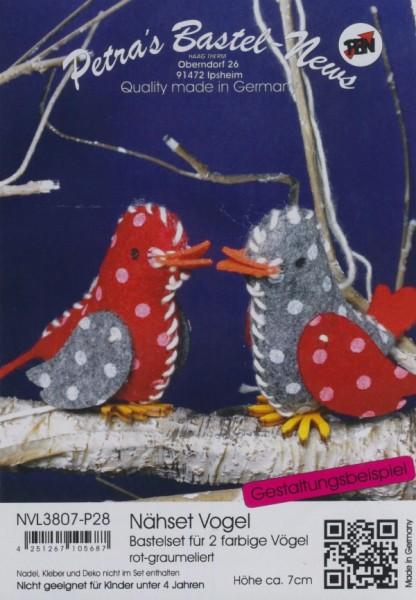 Filz-Nähset Vogel rot-graumelliert