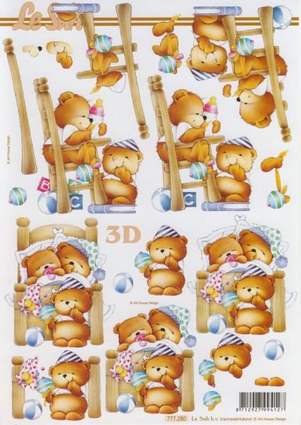3D Motivbogen Bärenfamilie Baby