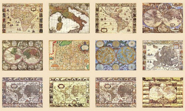 Decoupagebogen Historische Landkarten
