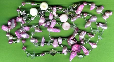 Süßwasserperlen Mix rosa