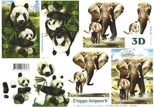 Motivbogen Panda + Elefant