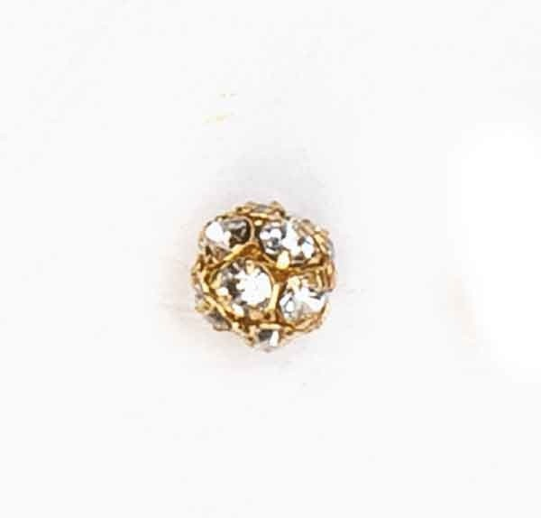 Metallperle mit Strass 8mm kristall-gold