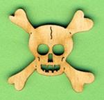Holz-Deko Totenkopf mit Knochen 3cm