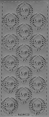 Sticker 50 mit Kranz silber