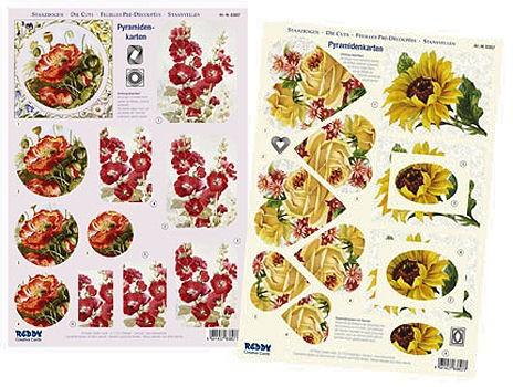 3D-Stanzbogen Mohn, Rosen, Sonnenblumen