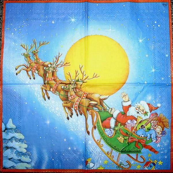 Serviette Rentiergespann mit Santa