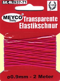 Elastikschnur rot transp. 0,9mmx2m