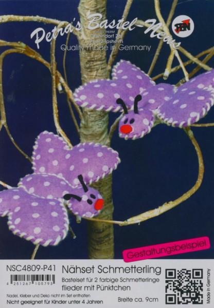 Filz-Nähset Schmetterling flieder mit Pünktchen