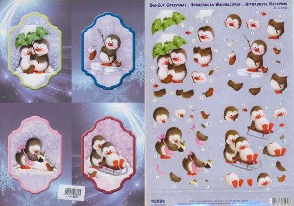 3D-Stanzbogenset Pinguine Weihnachten