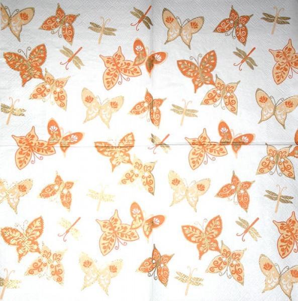 Serviette Schmetterlinge orange