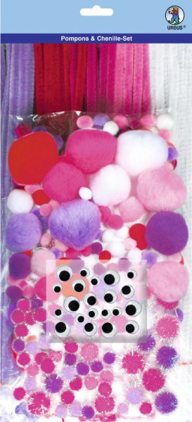 Pompoms & Chenille-Set Pink-Mix