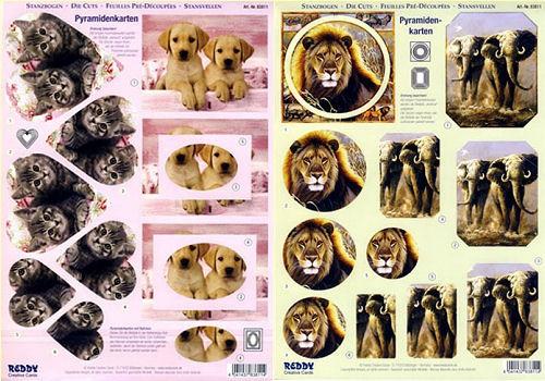 3D-Stanzbogen Afrika, Hunde- und Katzenbabys