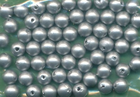 Wachsperlen 6mm silber matt