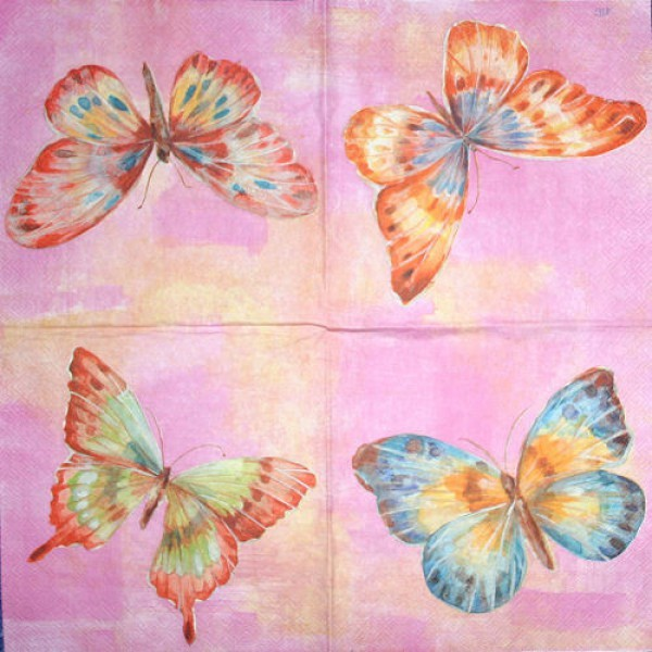 Serviette Papillon pink
