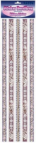 Ribbon Sticker grau-rosé-silber mit Blumen