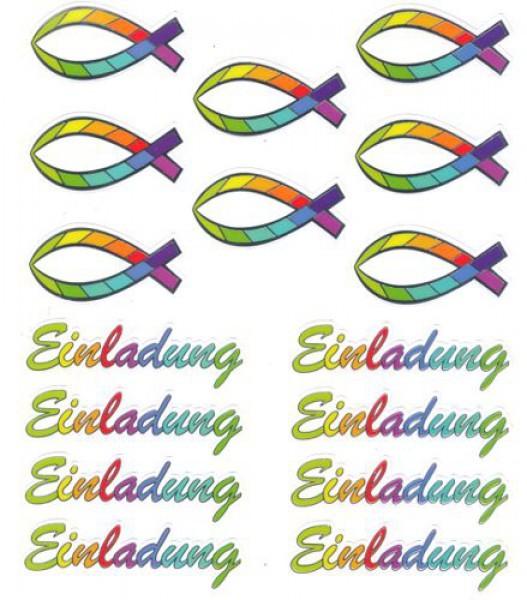 Design Sticker Regenbogen-Fisch Einladung