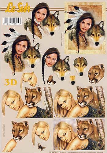 Motivbogen Wolf und Löwe